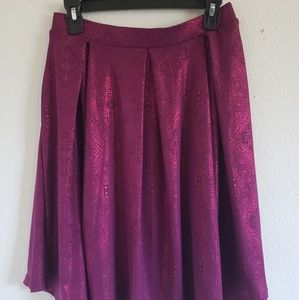 Madison pleated skirt magenta with foil Aztec